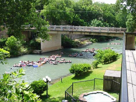 View of the Comal River and Garden street bridge from the Inverness deck.